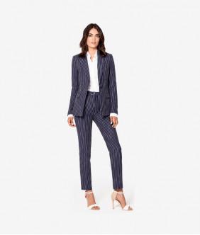 Women Cotton Striped Blazer